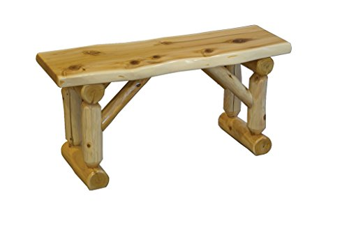 Amish Made Room Furniture Dining - Rustic White Cedar Log 3 Foot Slab Dining Bench Amish Made in the USA