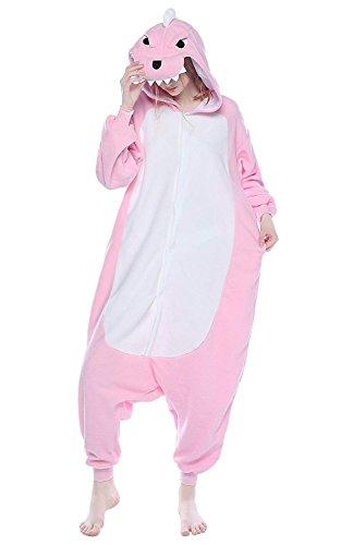 LeaveLive Cute Animal Costume Adult Onesie Pajama, Pink Dinosaur, XL(177-185CM)]()