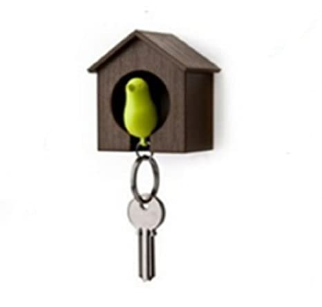 Birdhouse Key Ring - Brown House with Pink Bird