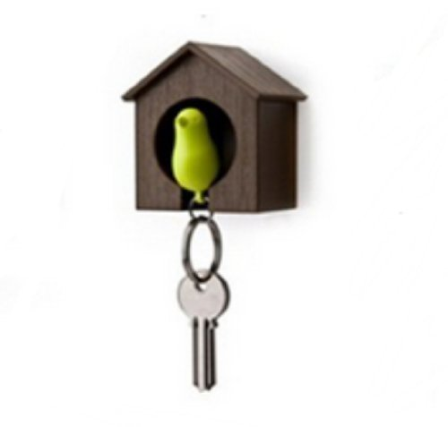 (Birdhouse Key Ring - Brown House with Green Bird)