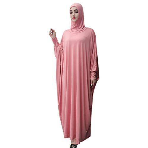 Muslim Women Solid Color Headgear Mosque bat Sleeve Robes Cardigan Ramadan Dress Pink