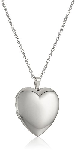 - Sterling Silver Large Polished Heart Locket Necklace, 18