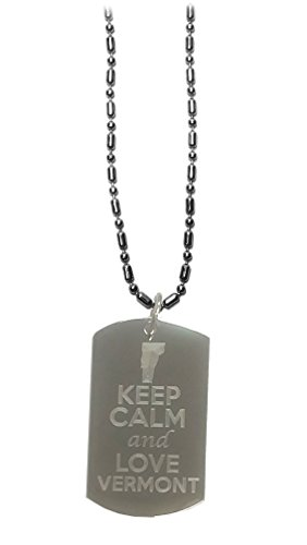 Hat Shark Keep Calm and Love Vermont State Logo - Military Dog Tag, Luggage Tag Metal Chain ()