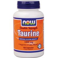 Now Foods Taurine Double Strength 1000mg, 100 caps ( Multi-Pack)