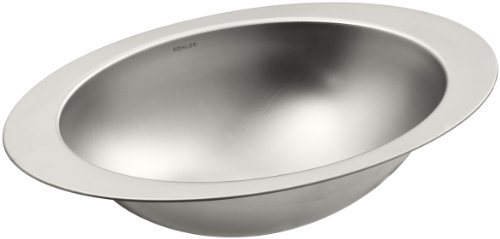 Kohler 2602-SU-NA Stainless Steel undermount Oval Bathroom Sink, 24.5 x 18 x 6.75 inches, Satin