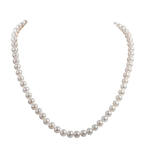 AIDNI AA Quality Freshwater Cultured White Round Pearl Necklace, Princess Length 18.5