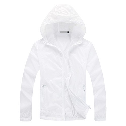 - Tortor 1Bacha Men's Solid Hooded Windbreaker UV Sun Protection Jacket (X-Large, White)