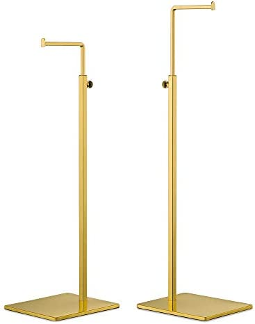 YIFU DISPLAY Purse Display Stand - 2 Pack Polished Gold Counter Adjustable Height Handbag Display Stand- Single Hanging Hook Bag Display (Polished Gold)