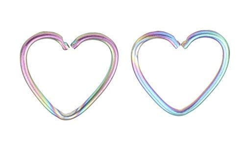 Assorted 2pcs 16g 1/2'' Heart 316l Seamless Daith Cartilage Earring Hoop6