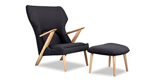 Kardiel Cub Modern Lounge Chair & Ottoman, Urban Ink Vintage Twill (Style Wing Chair Wegner)