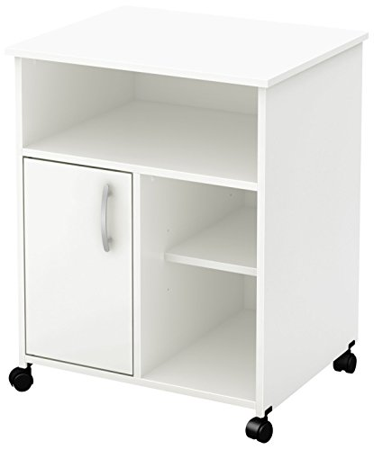 South Shore Fiesta Microwave Cart with Storage on Wheels, Pure White by South Shore