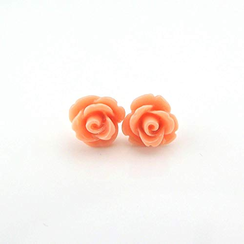 (9mm Small Soft Coral Rose Studs, Hypoallergenic Plastic Post Earrings Metal Sensitive Ears)