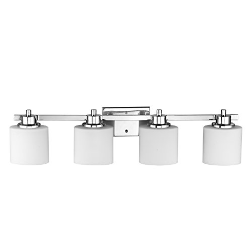 Chloe Lighting CH821036CM33 BL4 Contemporary 4 Light Chrome Finish Bath  Vanity Wall Fixture Alabaster Glass, 33