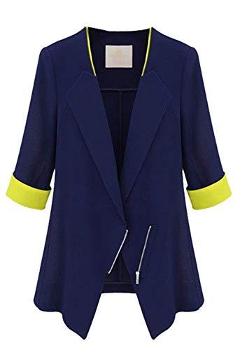 Primaverile Vintage Slim Giaccone Blau Autunno Business Cerniera Colori Elegante Blazer Manica Con Donna Lunga Fit Semplice Giacca Moda Casual Misti Outerwear Cappotto Glamorous BRXUtxWvnq