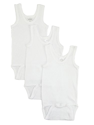 Ribbed Girls Top - bambini Baby White Rib Knit White Sleeveless Tank Top Onesie 3-Pack
