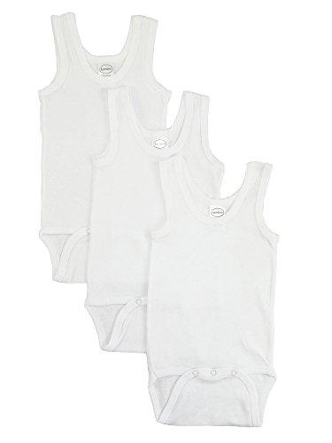 bambini Baby White Rib Knit White Sleeveless Tank Top Onesie (Toddler Girls Ribbed Tank Top)