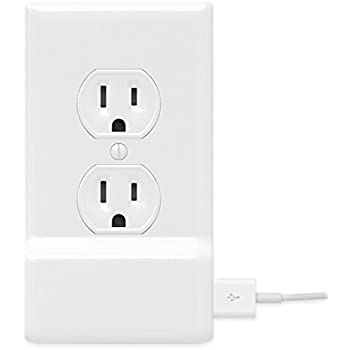 SnapPower USB Charger Outlet Wall Plate Cover - No Batteries Or Wires - Installs In Seconds - (Duplex, White) (1 Pack)