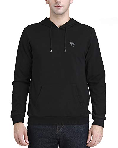 Skirt Terry Drawstring (CAMEL CROWN Mens Hooded Pullover Sweatshirts with Pockets Drawstring Sweater Long Sleeve Top Hoodies)