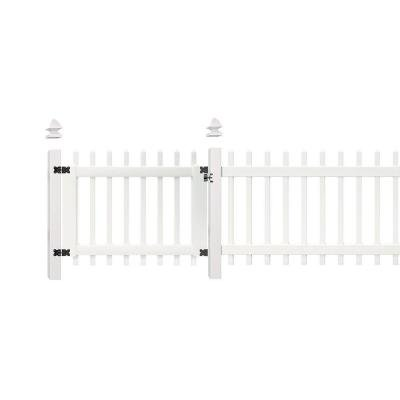 3.5 ft. W x 3 ft. H White Vinyl Chelsea Spaced Picket Fence Gate by Veranda.