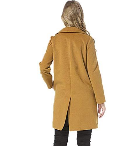 Manica Breasted Single Fashion Con Tasche Khaki Parka Outerwear Donna Casual Lunga Grazioso Eleganti Coat Primaverile Autunno Trench Cappotto Monocromo OPkX8nw0