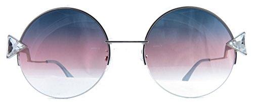 Fendi Round Sunglasses 0TJV Violet Gold Frame And Gray Fuschia Lens