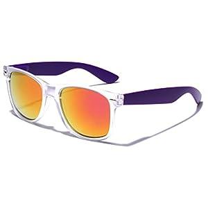 Colorful Retro Fashion Sunglasses Translucent Clear Matte Frame - Color Mirrored Lenses (Clear | Purple, 52)