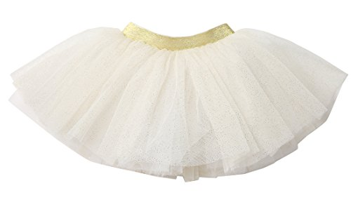 WGOODTECK Newborn Infant Baby Girls Super Soft Glitter Sparkle Tulle Tutu Skirt(0-12M,Ivory)