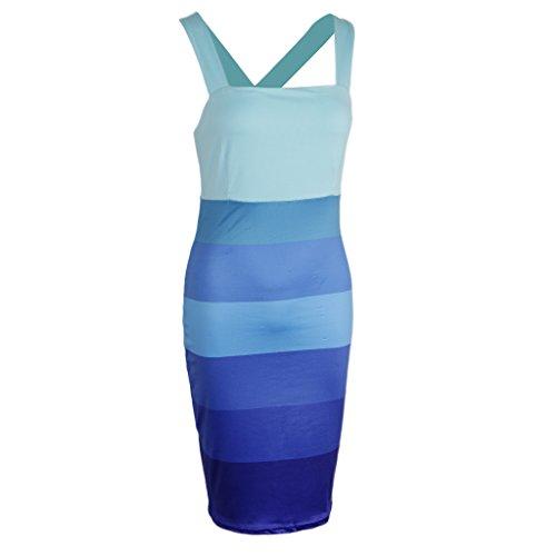 Moderna Poliéster Mujer Vestido A Pierna Blando Azul DOLITY D Ropa Media Camisa Jovencita Elastano qwXc7