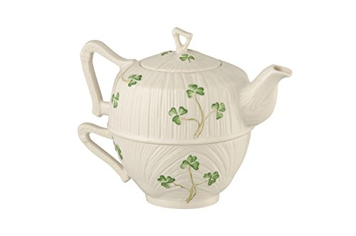 Belleek Pottery Harp Shamrock Tea for One, Green/White (Set Shamrock Tea)