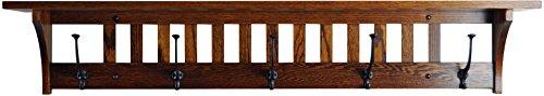 Wood Coat Rack Shelf Wall Mounted, Mission, 5 Hook, Oak Wood, Michaels Stain -