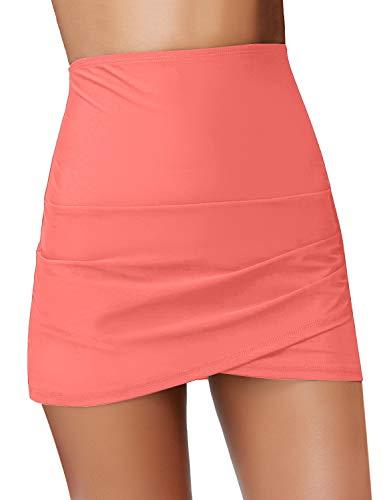 (GRAPENT Women's High Waist Tulip Hem Shirring Swim Skirt Swimsuit Bikini Bottom Coral Pink Size XXL)