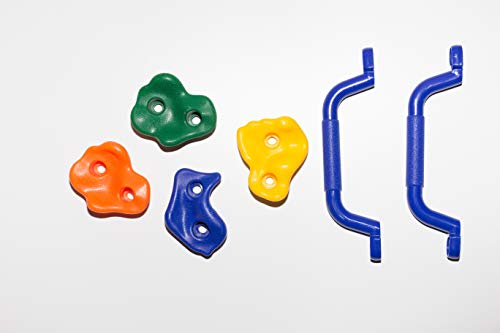 - Rocky Point Premium Playground Rock Climbing Holds, Two Sets of Safety Handles, 5 Colours, Comes with mounting Hardware for Climbing Wall, Includes Set up Guide