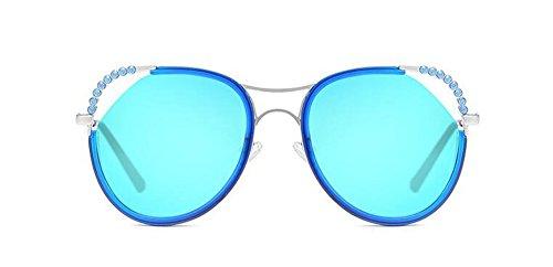 et Femmes Hommes en Soleil Steampunk Retro Rond Cercle de Inspirées Lunettes Bleu Pour Glacier Métallique Polarisées du Style 6ZBxOFn