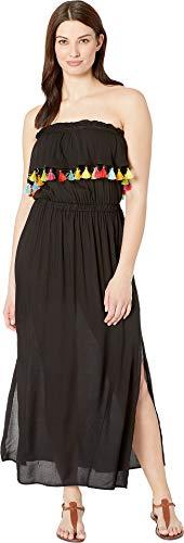 (Bleu Rod Beattie Women's Fringe Benefits Bandeau Maxi Dress Cover-Up Black Large )