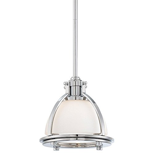 Minka Lavery 2240-77 1 Light Pendant in Chrome Finish w/ Light French Scavo (French Scavo Glass)
