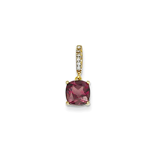 14k Yellow Gold Diamond Rhodolite Red Garnet Pendant Charm Necklace Gemstone Fine Jewelry Gifts For Women For Her from ICE CARATS