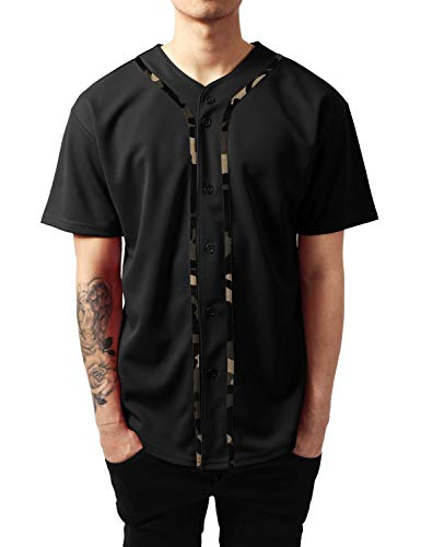 Ma Croix Mens Premium Baseball Jersey Active Button Shirt Team Uniform (3X-Large, 1up01_Black/Camo)