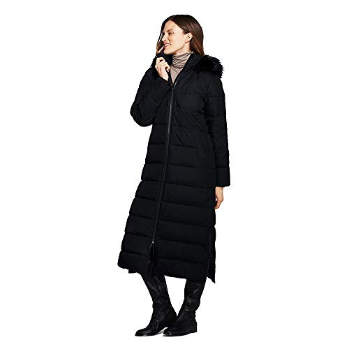 Lands' End Women's Tall Winter Long Down Coat with Faux Fur Hood, S, Black Faux Fur