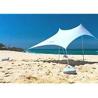 OZoola Beach Sunshade | Tent with Sandbags UPF 50+ UV Protection | Shade Canopy with 2 Lightweight Aluminum Poles, 4…