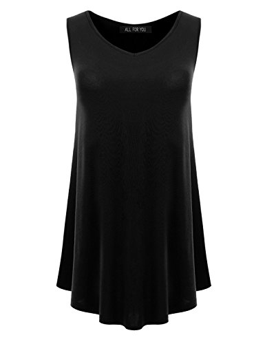 All for You Womens Sleeveless Round Hem Tunic Top Made in USA