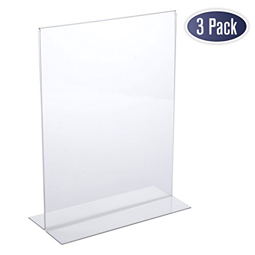 Acrylic Sign Holder 8.5 x 11 - Acrylic T Shape Table Top Display Stand, Double Sided, Bottom Load, Portrait Style Menu Ad Frame. Perfect for Restaurants, Promotions, Photo Frames, Classroom (3 Pack)