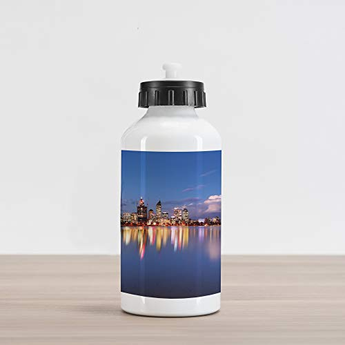 Lunarable Modern Aluminum Water Bottle, Skyline of Perth Western Australia at Night Dramatic Urban Swan River Scenery, Aluminum Insulated Spill-Proof Travel Sports Water Bottle, Violet Blue Amber (Australia Patios Western)