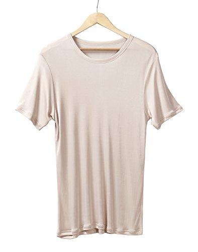 (Men's Pure Mulberry Silk Knit Crewneck T-Shirts Men Undershirts (Beige, L))
