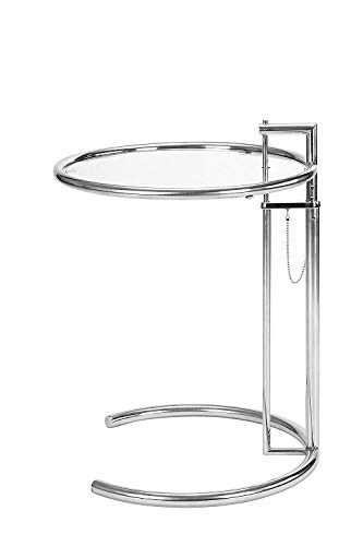 - SHISEDECO Eileen Gray/Grey End Table Silver, Metal Adjustable Height Side Table with Tempered Circle Glass Top and Stainless Steel Tublar Frame for Firm & Durability, Sofa Side Table (Sliver 1 Set)