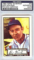 Wes Westrum Signed 1952 Topps Reprint Trading Card #75 New York Giants - PSA/DNA Authentication - Autographed MLB Baseball Cards from Sports Collectibles Online