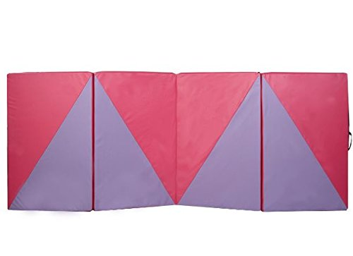 K&A Company Triangular Splicing Thick Folding Panel Gymnastics Mat Gym Yoga Exercise Mat Pink Purple 4' x 10' x 2""