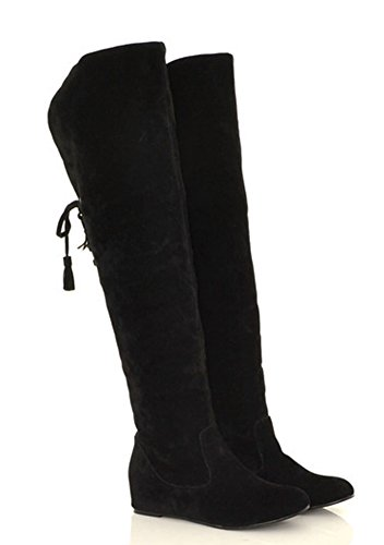 Aisun Womens Warm Comfy Back Lace Up Height Over Knee Boots Black j5sSdvHxO