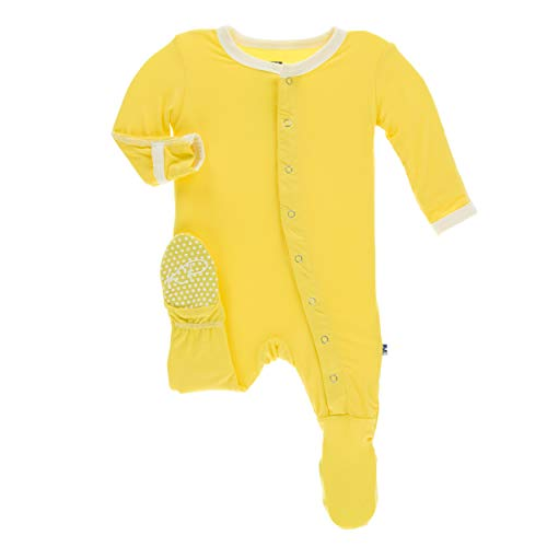Kickee Pants Little Boys Solid Footie with Snaps - Zest with Natural, 18-24 Months (Bodysuit Comfy)