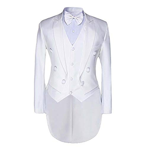 Cloudstyle Men's Tailcoat Formal Slim Fit 3-Piece Suit Dinner Jacket Swallow-Tailed Coat (X-Large, White)