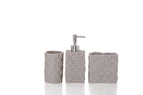 Stylish 3 pieces bath set, dress your bathroom with this chic decorative set. Features: liquid soap dispenser, tumbler and toothbrush holder. Modern stone design. (Set Accesory)